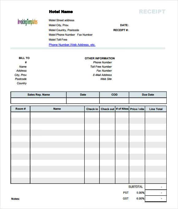 hotel receipt templates word excel samples. Black Bedroom Furniture Sets. Home Design Ideas
