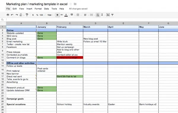 Marketing Plan Templates - Word Excel Samples