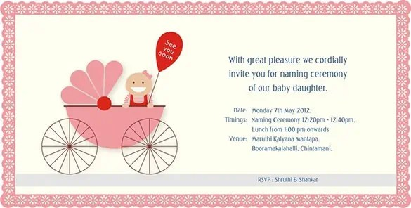 Naming Ceremony Invitations  Word Excel Samples