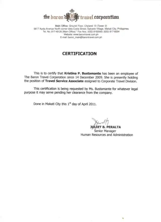 sample of certificate of employment