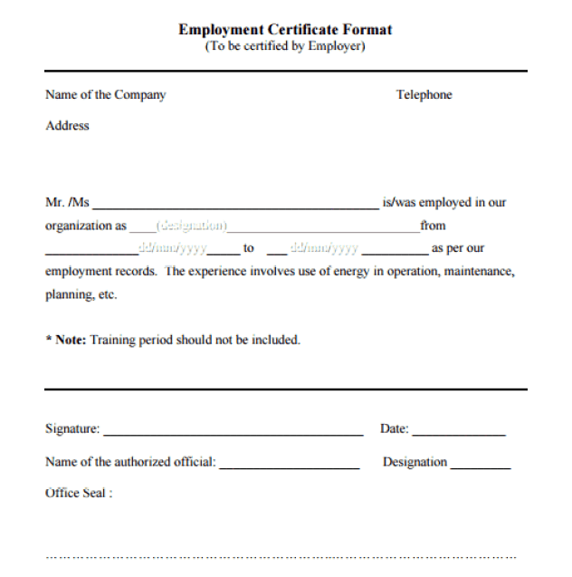 Certificate of employment samples word excel samples certificate of employment 70 yadclub Choice Image