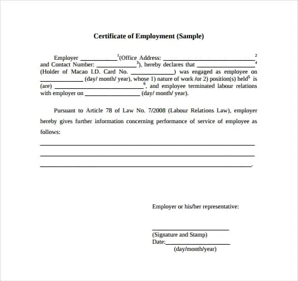 Certificate Of Employment Samples  Word Excel Samples
