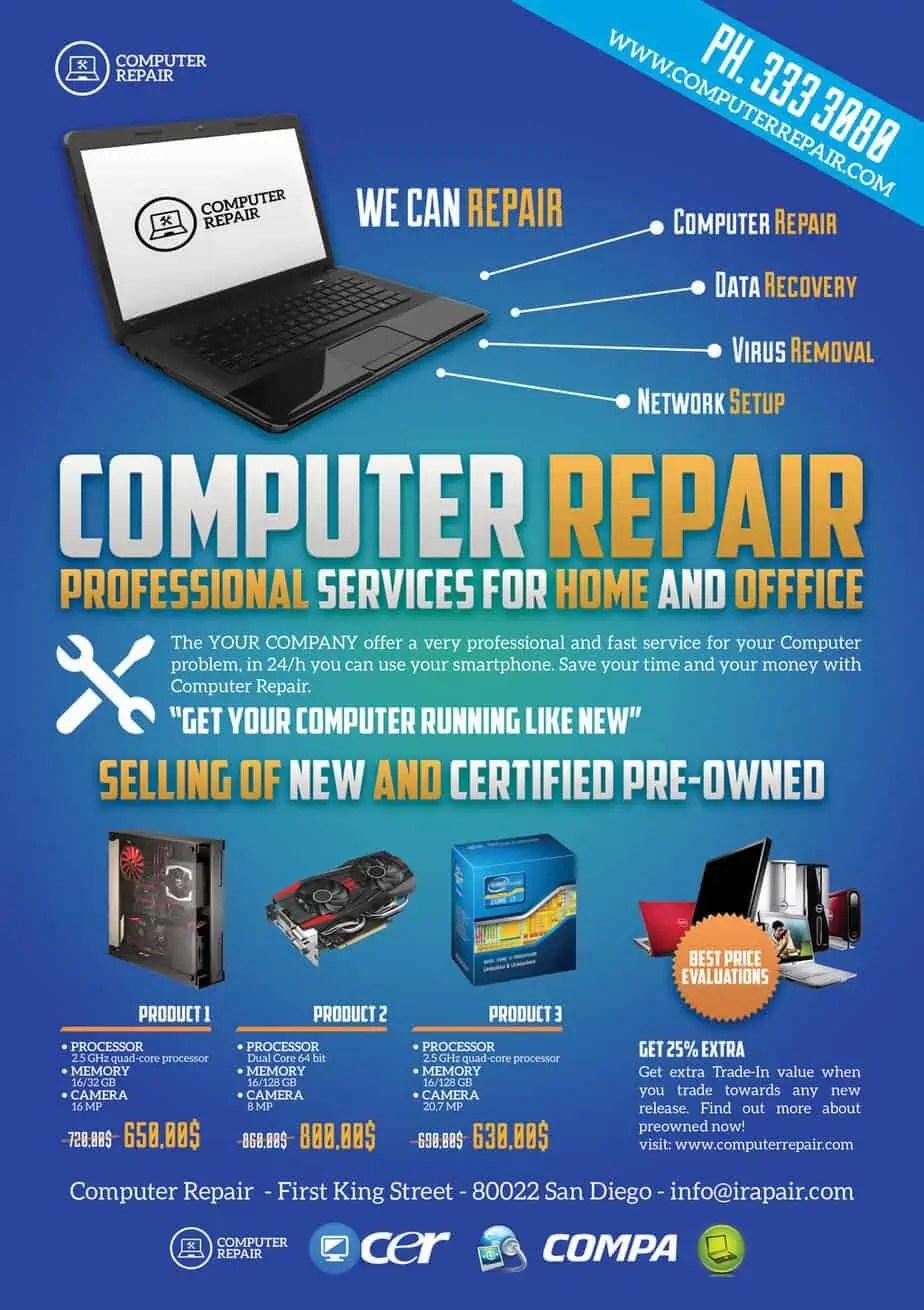 computer repair flyers word excel samples. Black Bedroom Furniture Sets. Home Design Ideas