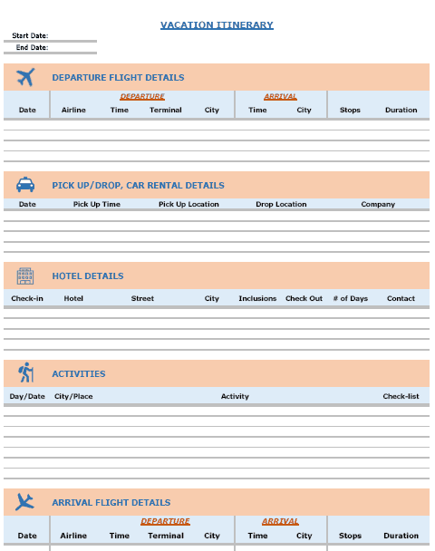 visit itinerary template