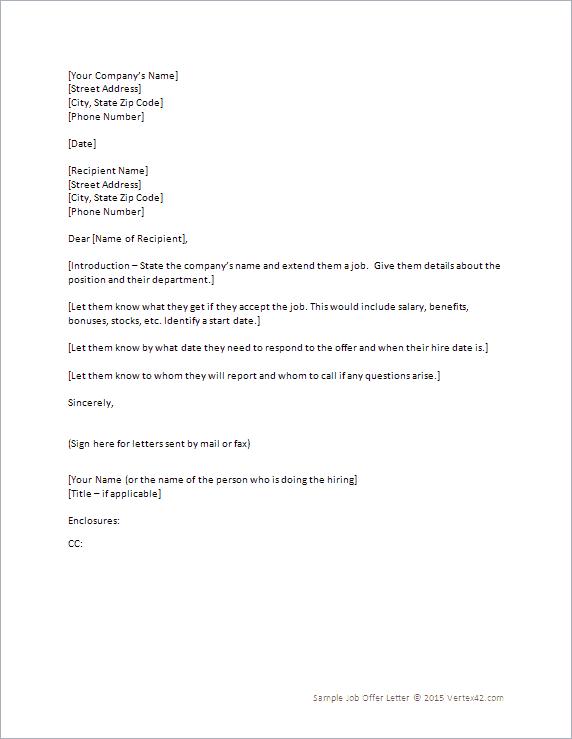 Offer Letter Formats - Word Excel Samples