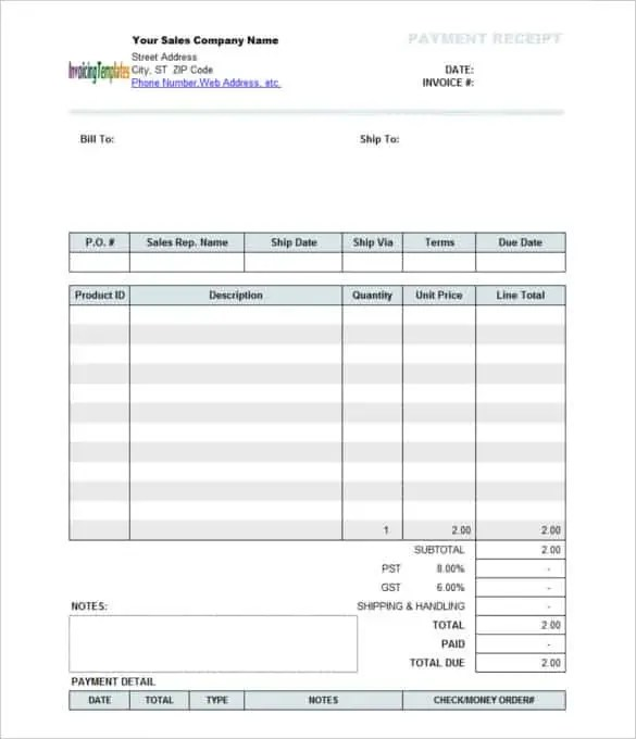 Receipt Sample Word Template Examples – Receipt Format in Word