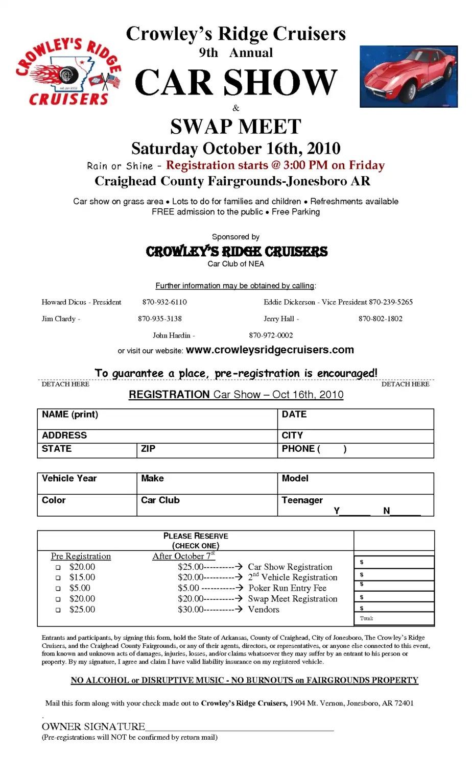 8 Car Show Registration Form Templates