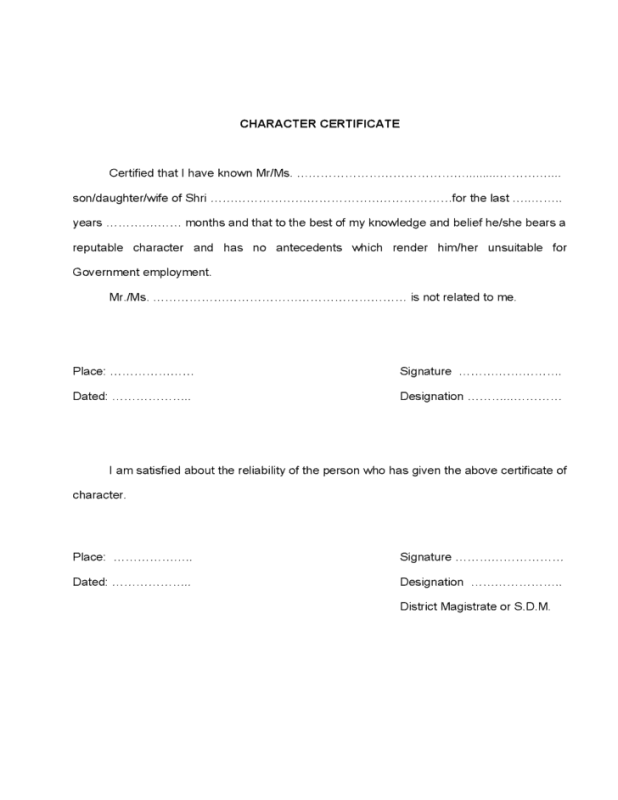 Character Certificate Template 60