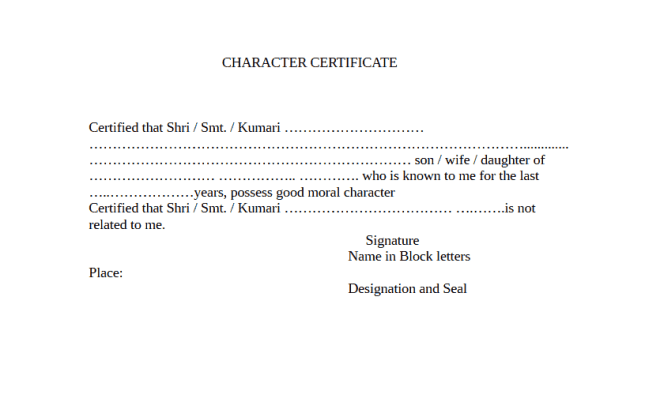 Character Certificate Template 70