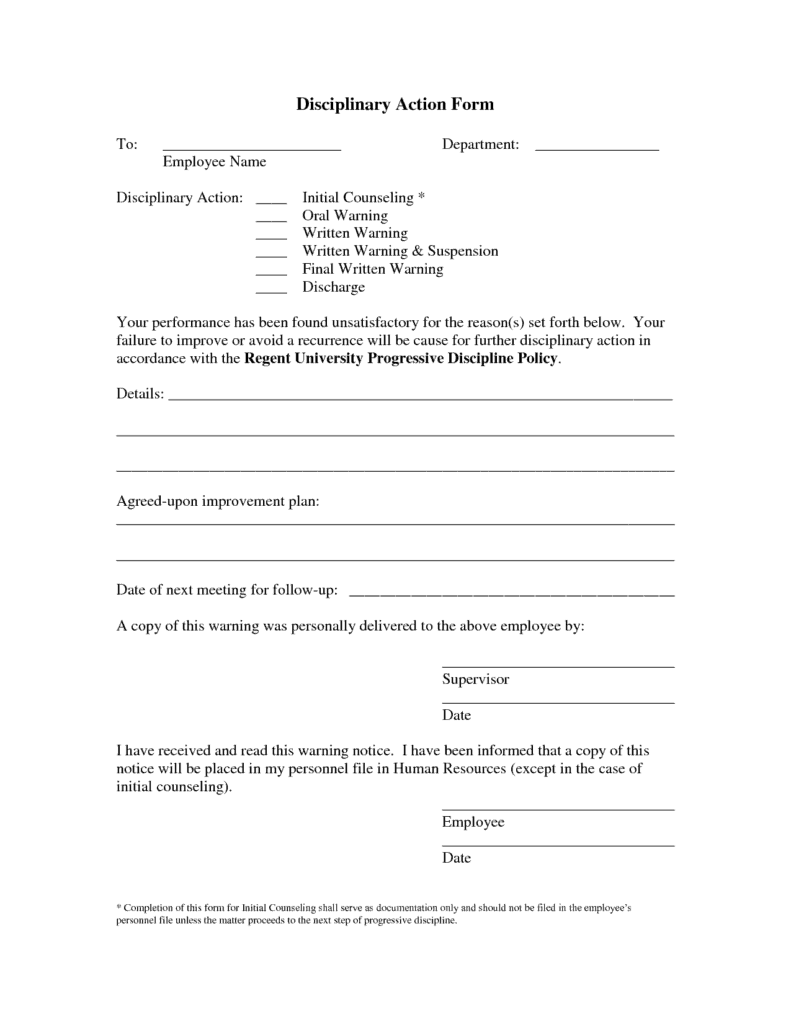 Employee Write Up Form Template 10