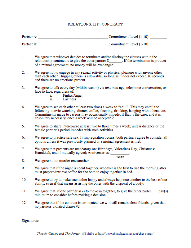 Relationship Contract Template 10