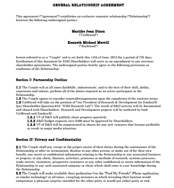 Relationship Contract Template 40