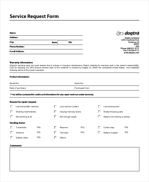 Service Request Form Templates - Word Excel Samples