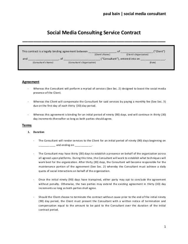 Social Media Contract Template 10