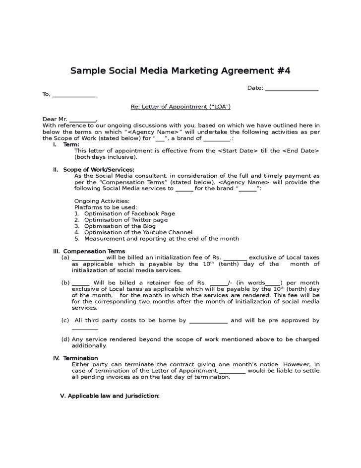 Social media contract templates word excel samples for Co promotion agreement template