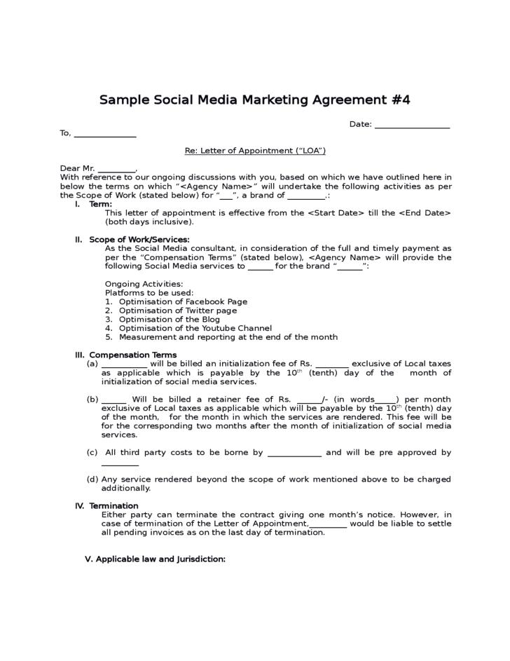 Social Media Contract Template 30 ...