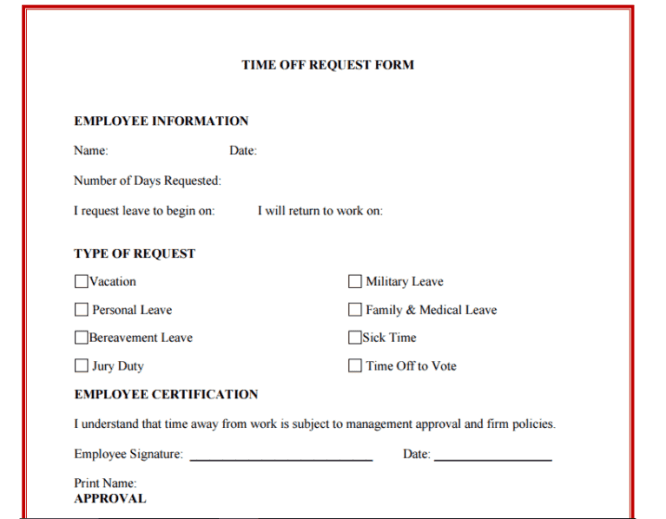 Time Off Request Form 30
