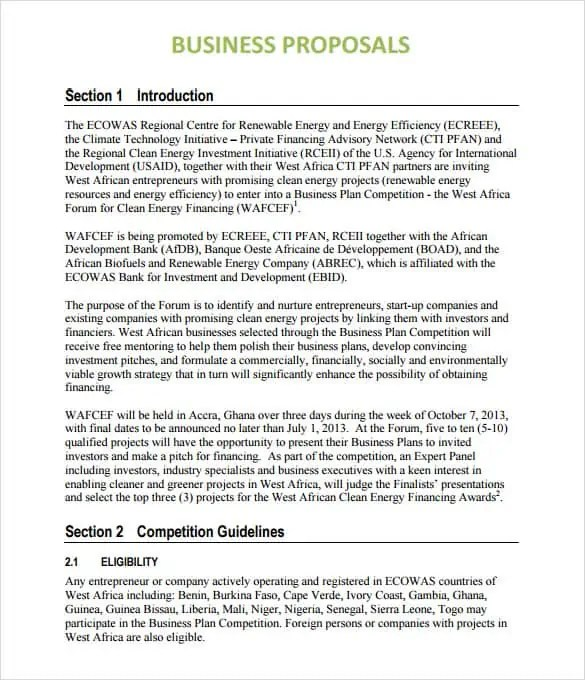Business Proposal Templates Word Excel Samples