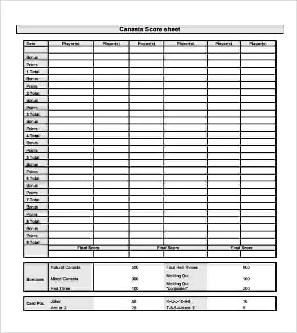Lovely Canasta Score Sheet 30