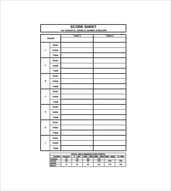 Canasta Score Sheet Template Basketball Score Sheet Template