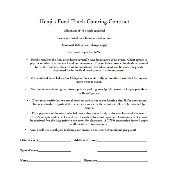 catering contract template 50