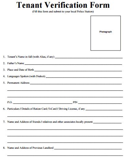Rental Verification Form 40 ...
