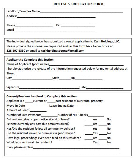Rental Verification Forms - Word Excel Samples