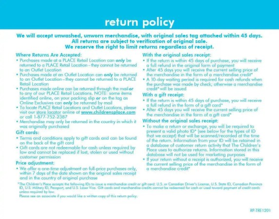 return policy template 40