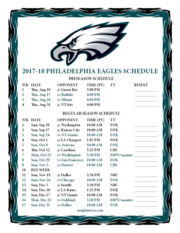 Printable 2017 2018 Philadelphia Eagles Schedule