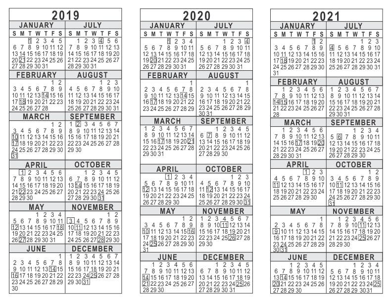 yearly printable calendar 2019