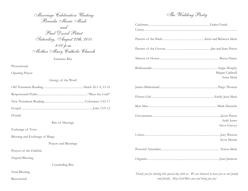 Catholic Wedding Program Template 2