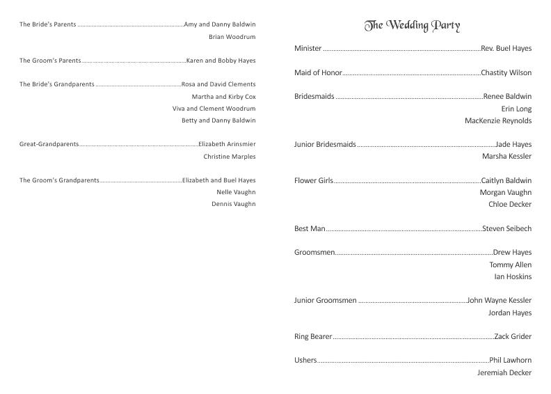 Folder Wedding Program With Sash Template