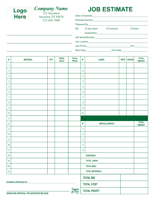 free printable job estimate forms