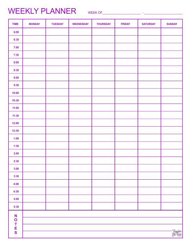 printable weekly planner template