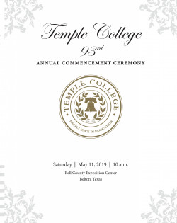 2019 commencement ceremony set for May 11 • Temple College