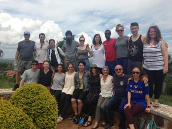 Group picture at the Agahoza-Shalom Youth Village in Rwanda. This village was created and by the American Jewish Joint Distribution Committee and the State of Israel to deal with orphans from the 1994 Rwandan Genocide in which 1,000,000 people who slaughtered (mostly by machetes) in 100 days.