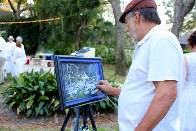 Terry Klaaren painting the Art en Blanc