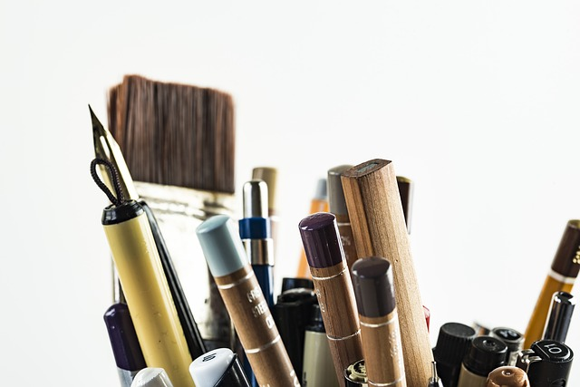 brushes and pens