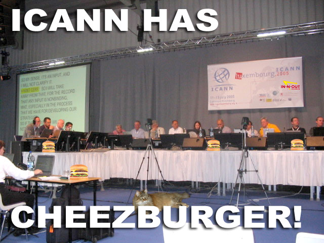 "Image of an ICANN panel with words, ""ICANN has cheezburger!"""
