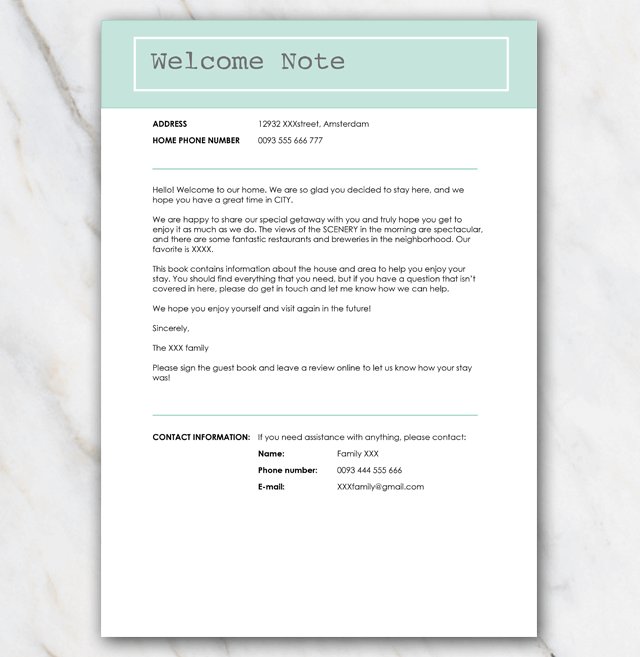 Printable AirBnB Welcome Letter  FREE download