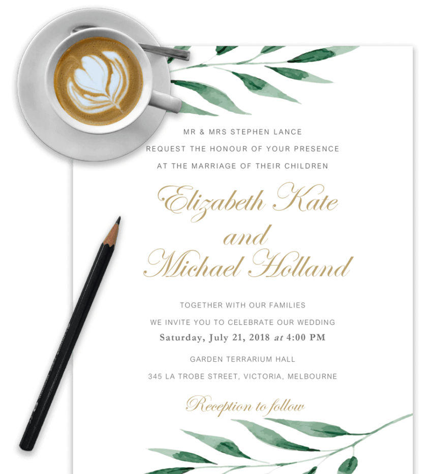 Exle Of Wedding Invitation Template In Word With Olive Brach And Cappuccino