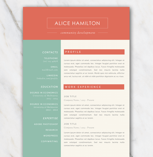 Resume template with gree red and offwhite color palette