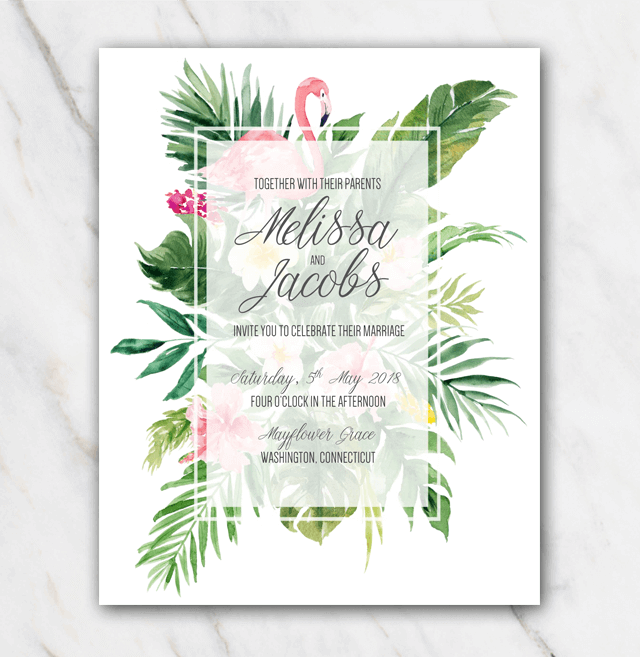 Tropical Flamingo Wedding Invitation Template In Word For Free