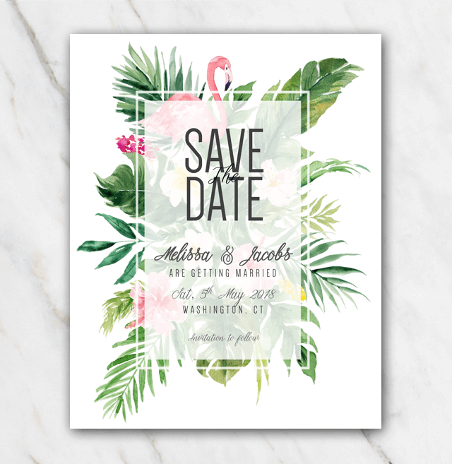 Wedding Save The Date Template Tropical Themed Flowers