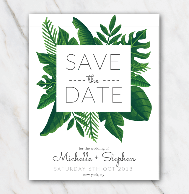 Tropical Green Wedding Save The Date Template