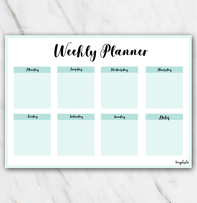 The Yellow Wallpaper Analysis Quotes Free Printable Weekly Planner In Sea Color