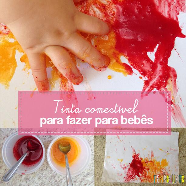 Atividade para bebês de 6 a 12 meses - pintura com tinta comestível