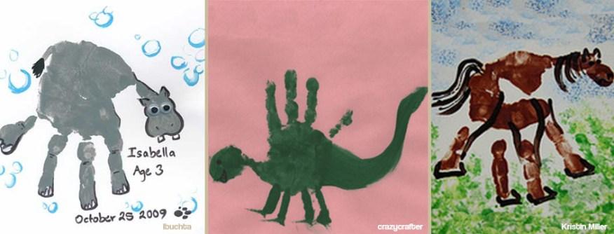 Hipopotamo dinossauro e cavalo