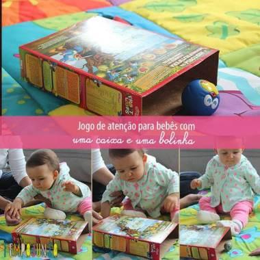 Atividade para bebês com bolinha e caixa de sucrilhos