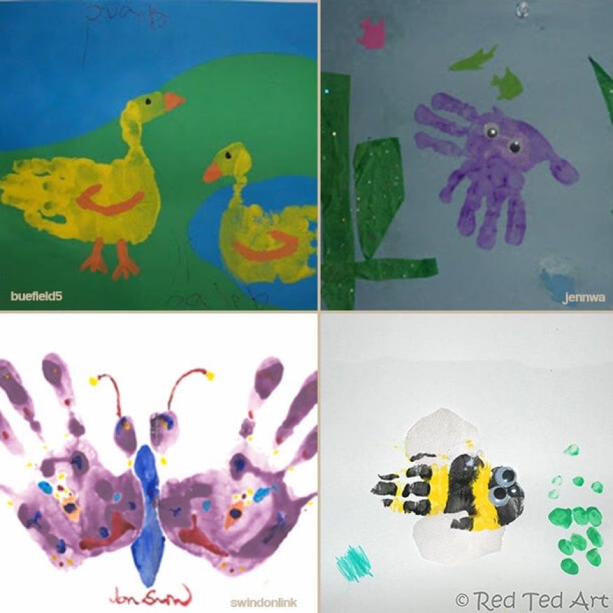 desenhos usando mãos e tinta pato polvo borboleta abelha